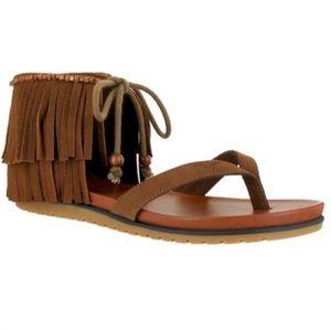 MIA Native Cinnamon Fringe Sandals Boho Platform